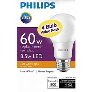 Philips LED 110V, E26 / A19, Non-Dimmable, 4-pack light bulb