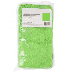 "12"" x 12"" Green Microfiber Cleaning Cloth per 12"