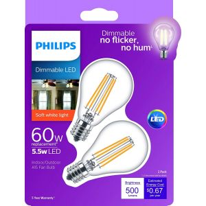 Philips LED 110V, A15 / E17, Dimmable 2-pack light bulb